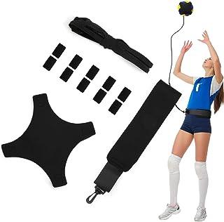 排球训练辅助足球练习训练器,带可调节腰带,用于服务设置尖刺训练,排球训练设备辅助初学者和排球运动员,10 个手指套
