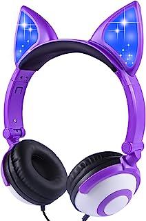 儿童耳机猫耳头戴式耳机,可爱儿童耳机,适合女孩、男孩、青少年、成人,角色扮演/舞蹈/派对/生日礼物(深紫色)