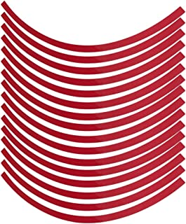 Yctze 车轮贴纸,6 色纸轮反光细条纹贴花贴带装饰贴纸薄膜通用适用于 40.64-48.26 厘米汽车、自行车、摩托车车轮(红色)