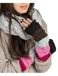 温暖冬季 * 羊毛无指手套手臂保暖针织钩编粉色女士