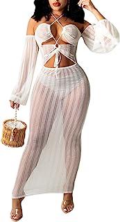 Ekaliy 女式性感透视露肩连衣裙长袖紧身网眼超长连衣裙交叉吊带上衣