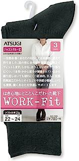 ATSUGI 厚木 女袜 WORK Fit 罗纹 Just Crew 袜子 (小腿长度) 〈3双装〉