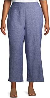 Terra & Sky 靛蓝色条纹加大码阔腿亚麻七分裤