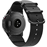 Fintie 适用于 Garmin Fenix 6 5 腕带,柔软编织尼龙运动表带替换腕带,适用于 Garmin 佳明…