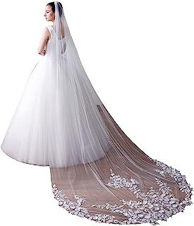 EllieHouse 女式拖尾长款婚礼新娘面纱带梳子 X43