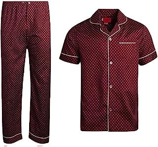 Apparel Closeout 男式棉质条纹格子短袖长裤睡衣套装