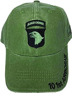 美国* 101st Airborne 棒球帽侧面带旗帜。OD *