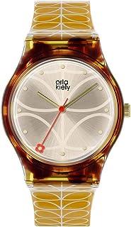 Orla Kiely 欧拉·凯利 中性成人模拟经典石英手表皮革表带 OK2222,香槟色