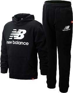 New Balance 男童慢跑套装 - 2 件套套头连帽衫运动衫和运动裤运动服套装(大男孩)