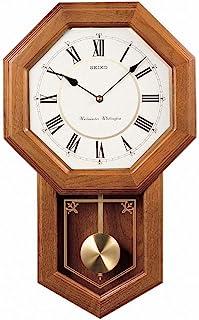 Seiko 壁挂挂挂式学校时钟深棕色实心橡木箱