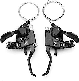TGhosts 自行车移位杆,1 对铝合金山地自行车移位杆骑行扳机齿轮 3x7 速度移位器,带内移位电缆,适用于 22 毫米车把