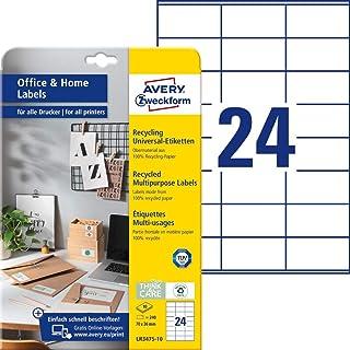 AVERY Zweckform LR3475-10 再生标签 ( 240个地址标签 , 70 x 36毫米 A4 , * 可回收废旧纸 , 可打印地址标签 , 自粘标签 ) 10页 , 自然白