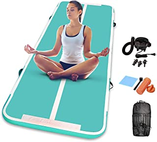 dwzdd Gymnastics 充气空气翻滚垫 13 英尺 16 英尺 20 英尺轨道空气垫带电动气泵,适用于海滩、训练、啦队、水上瑜伽(白色+粉色,19 英尺)(*,9.84 英尺)