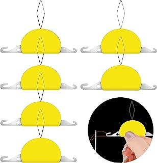 6 件 3 合 1 塑料针线器,塑料线圈 DIY 针线器手动机缝纫工具,用于 DIY 缝纫工艺(黄色)