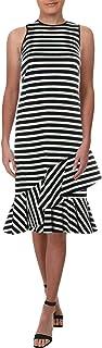 LAUREN RALPH LAUREN 女式条纹不对称荷叶边连衣裙 B/W XL 黑色