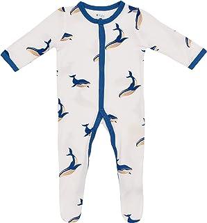 KYTE BABY 中性柔软竹纤维人造丝连脚服,按扣封口,印花,0-24 个月 鲸鱼色 Newborn