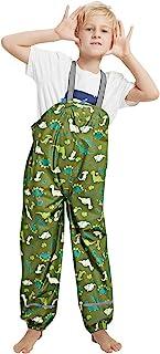 儿童防水雨裤防污背带裤,适合男孩和女孩。