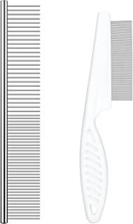 Dog Comb 宠物梳 高级不锈钢牙齿 专业去除打结和垫子宠物*工具 适用于长毛猫和短毛狗猫和其他宠物 2 件装