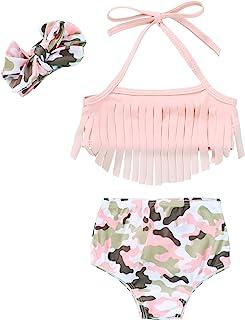 女婴泳装豹纹向日葵流苏挂脖泳衣泳装比基尼套装夏季海滩套装