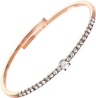 Rosemarie Collections 女式舒适弹性手镯手链袖口带水晶