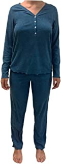 Eddie Bauer 女士睡衣 2 件套长袖亨利衫和裤子