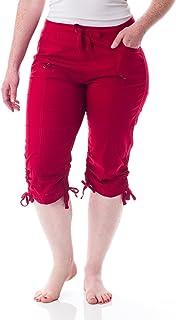 Alki'i 女式弹性腰带七分裤带口袋 2134