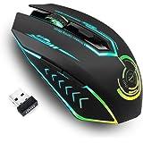 无线游戏鼠标 高达 7200 DPI,UHURU 充电 USB 鼠标,带 6 个按钮 7 个可更改 LED 颜色 符合人…