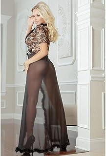 G World 贴身系列女士性感内衣 2 件闪光夜睡袍