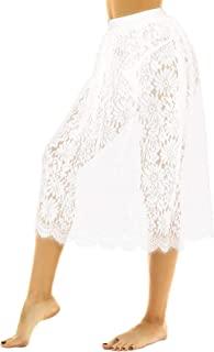 KKmeter 女式复古蕾丝裙 A 字加长中长款半滑透明裙衬裙