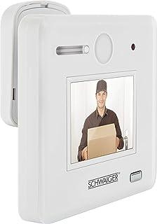 Schwaiger GmbH 532 TS100532 Schwaiger TS100 数字和光学门(2.4 英寸高清显示屏,电池供电,170° 视角),门厚度30-65毫米,白色