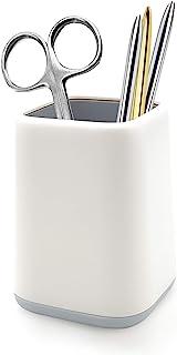 Dooke 桌面笔架,双色可爱笔杯化妆刷架,耐用桌面存储收纳盒,文具盒,适用于办公室、教室、家居用品白色