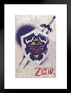 Pyramid America Legend of Zelda 剑和盾牌涂鸦艺术海报 30.48 x 45.72 cm 哑光框架海报 20x26 inches 351501