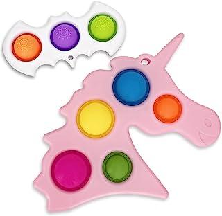 ZENYULL Fidget 玩具钥匙扣简单凹陷推动 Pop 泡泡 Fidget Pack 感官 Fidget 玩具 完美*玩具 凹陷玩具 适合自闭* * 抗* 儿童和成人使用