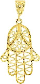 14K 纯金银丝 Hamsa 魅力手上帝之手吊坠带纹理表面