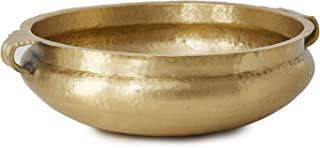 Serene Spaces 活金黄铜手工锤打金属装饰碗–完美用作家居装饰台面中心的装饰品,菜盘,水果架,尺寸为5.25英寸,约13.33厘米(高)和15.75英寸,约40.00厘米