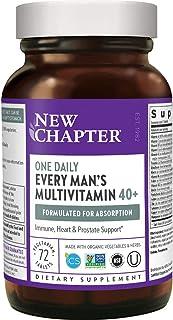 New Chapter 男士复合维生素+机体支持-40+年龄人群每个人每天一次,益生元+锯棕榈+ B族维生素+维生素D3 +Organic Non-GMO成分-72粒