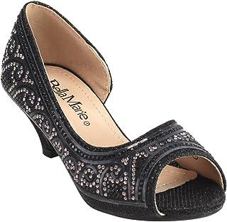 Bella Marie Truly-5 女孩水钻 D'Orsay 礼服凉鞋