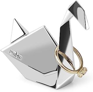 Umbra Swan ORIGAMI 戒指支架 – 现代戒指架/戒指收纳架小件很棒的礼物创意,适合派对礼品和Bonbonniers,金属镀/镀铬表面