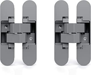 Emuca – 隐藏式铰链,用于入口门,2 个不可见的铰链,适用于重门,载重 40.60 或 80 千克,180°开口,Zamak,金属灰色 Metallic-grau 1019725