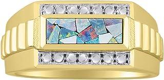 RYLOS 异国情调马赛克猫眼石设计师风格戒指套装 纯银或镀金银 .925 尺寸 9、10、11