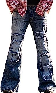 男式复古喇叭腿牛仔经典拼接喇叭裤