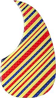 亮黄色原声吉他拾音器,带闪光条纹艺术品(红色-蓝色)