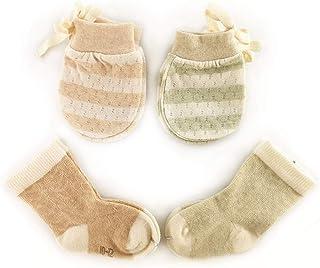 *棉婴儿连指手套新生儿,婴儿无划痕小连指手套适用于0-6个月新生儿手套,2双手套,2双袜,中性婴儿棕色