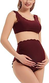 GINKANA 孕妇比基尼套装扇形泳衣背部系带坦基尼泳衣高腰泳装套装