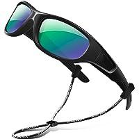 RIVBOS 橡胶儿童偏光太阳镜带眼镜罩,适合男孩女孩和儿童 3-10 岁 RBK037