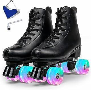 女式溜冰鞋,4 轮高帮双排皮革溜冰鞋,闪亮速度滑冰鞋,适合男孩女孩成人中性款,赠送礼物