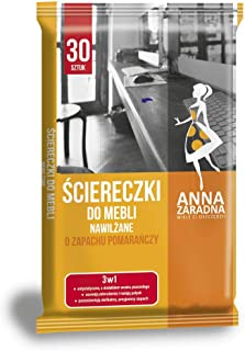 ANNA ZARADNA ST-AZ-030163 湿纸巾,家具,30件/蜂蜡含量/白色毛巾带橙色香味/家具日常护理其他木质表面 / 欧盟制造