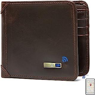 SmartLB 智能防盗蓝牙跟踪器钱包,位置记录(通过手机 GPS ),双折牛皮男士钱包(咖啡色)