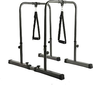 YESJOY 可调节蘸水架,多功能重型浸水站杆,带拉手手柄,适用于家庭健身房体重训练。 (高达 500 磅容量)