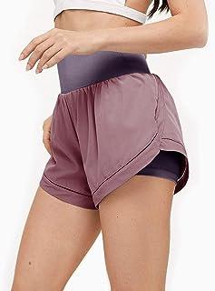 NIMIN 女士跑步短裤高腰双层速干健身锻炼骑行短裤瑜伽运动短裤